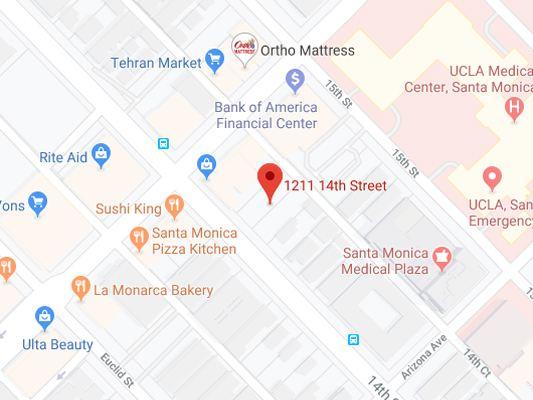 Image of Google map showing the address in Santa Monica,Socal Foot Ankle Doctors, Podiatrist Santa Monica