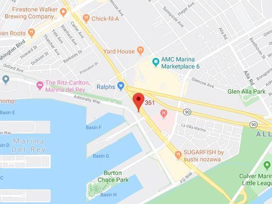 Image of map location in Marina Del Rey, Socal Foot Ankle Doctors, Podiatrist Marina Del Rey